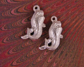Two Small Pewter Great White Shark Charms