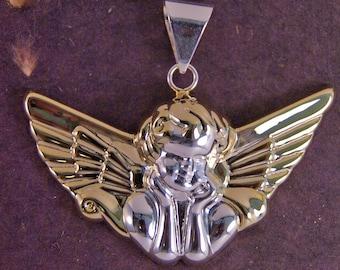 Large Two-tone Angel Pendant
