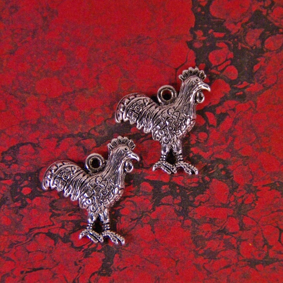 Set of Two Silver-tone Rooster Charms