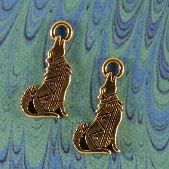 Coyote Charms Two Gold-tone Pewter Southwestern Design