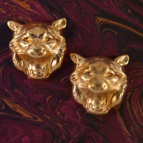 Pair of Small Brass Dimensional Lion Head Stampings