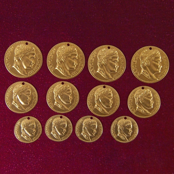 Set of Twelve Brass Roman Coin Charms in Three Sizes