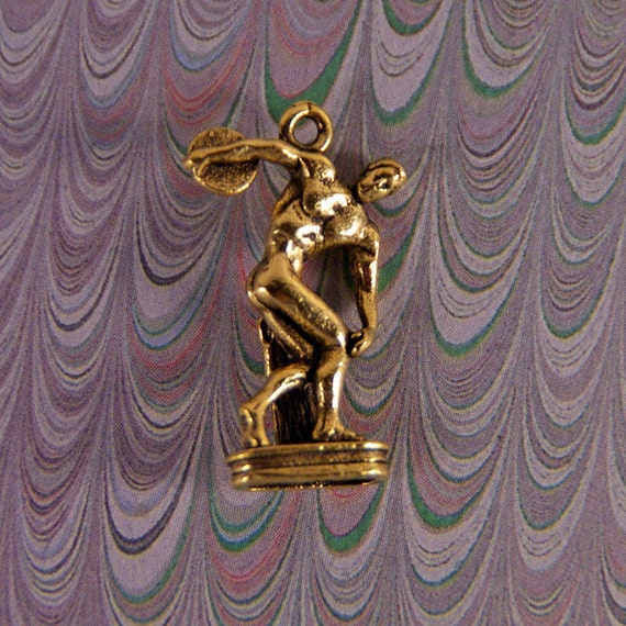 Discus Thrower Sculpture Charm Gold-tone Pewter ART
