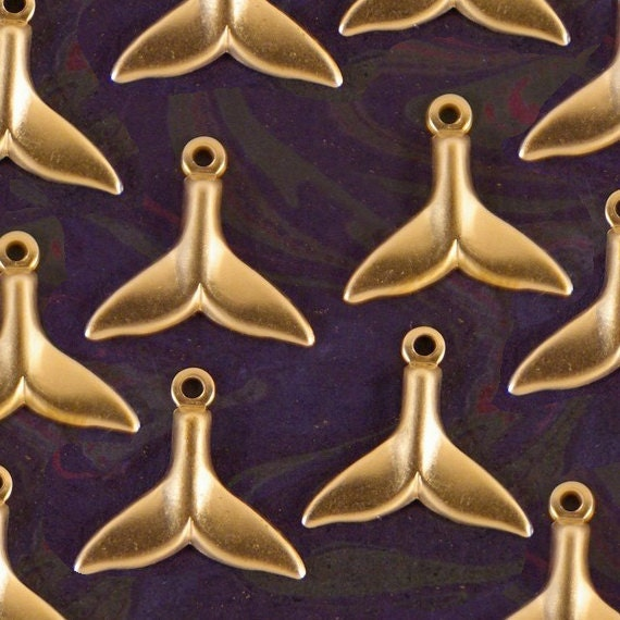 Set of 12 Small Brass Whale Tail Charms- Marine