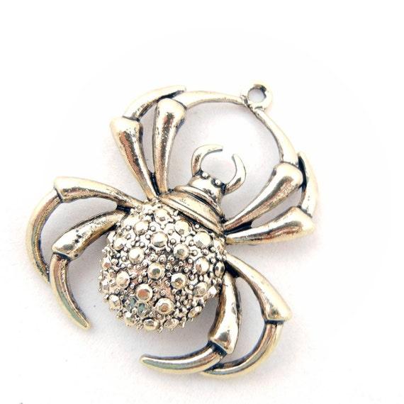 Burnished Gold-tone Spider Pendant