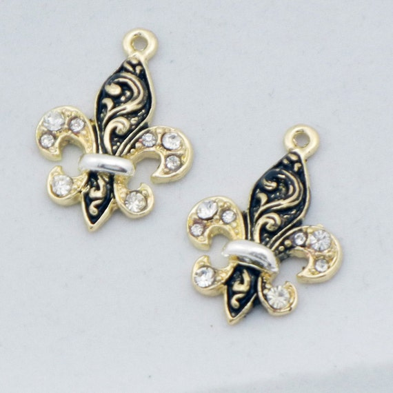 Gold-tone and Black Fleur de Lis Charms with Rhinestone Accents
