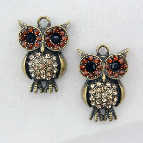 Pair of Owl Charms with Topaz Rhinestones Burnished Gold-tone