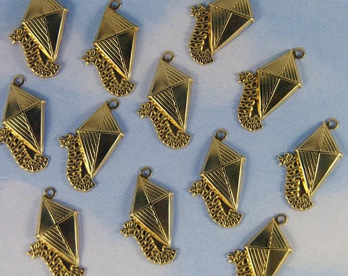 Set of 12 Brass Kite Charms