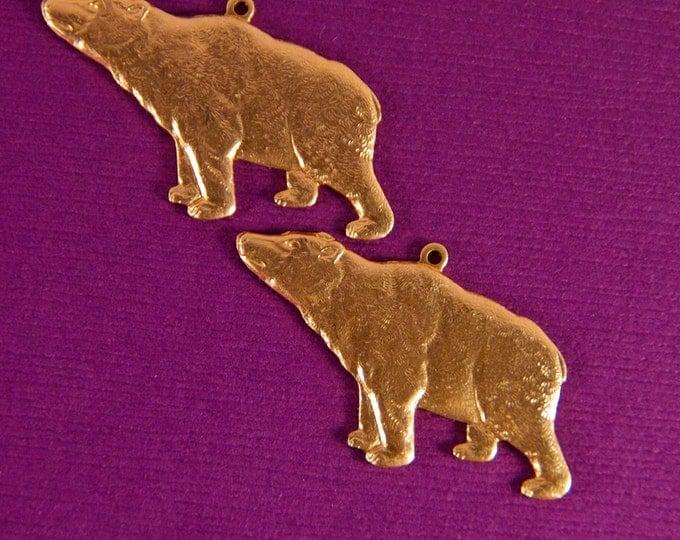 Set of Brass Polar Bear Charms