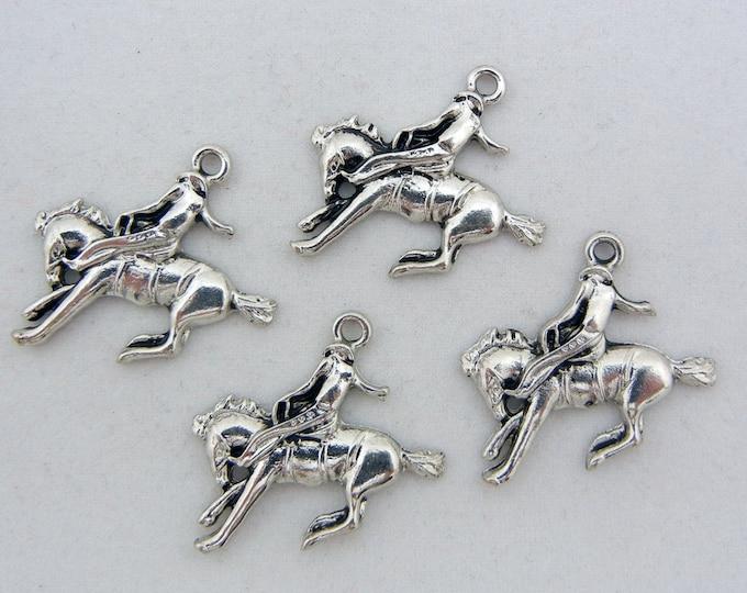 Set of 4 Cowboy Bronco Horse Riders Silver-tone