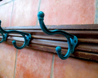 LARGE Teal Hook Rack made from Architectural Salvaged Wood Trim