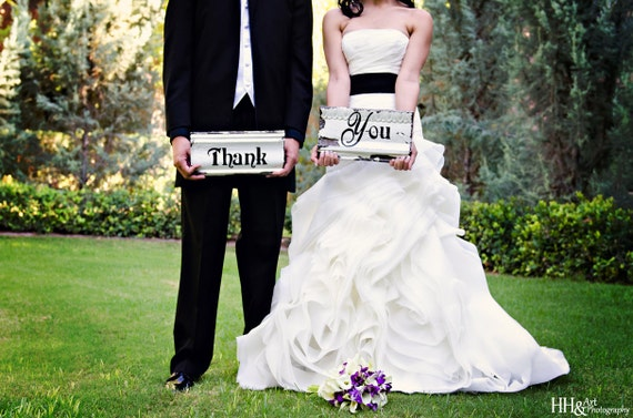 Wedding Thank You SIGN / 2pc Set made with Antique Ceiling Tin