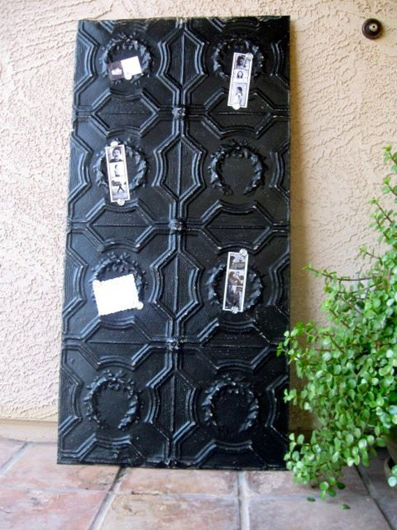 ENORMOUS Architectural Salvage Magnetic Memo Board from Antique Ceiling Tin  4ftx2ft