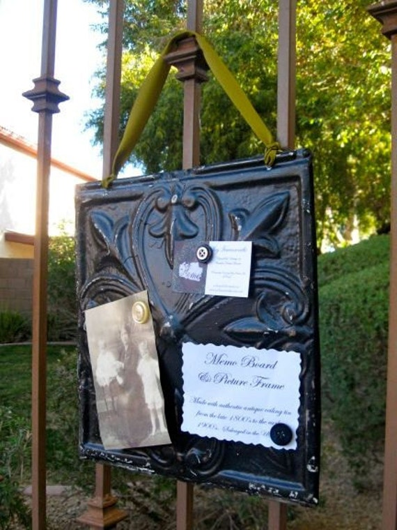 OLIVE Antique Ceiling Tin Memo Board / Wall Hanging