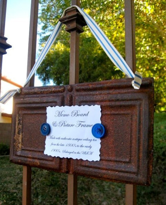 SMALL and MIGHTY   Antique Ceiling Tin Memo Board / Picture Frame
