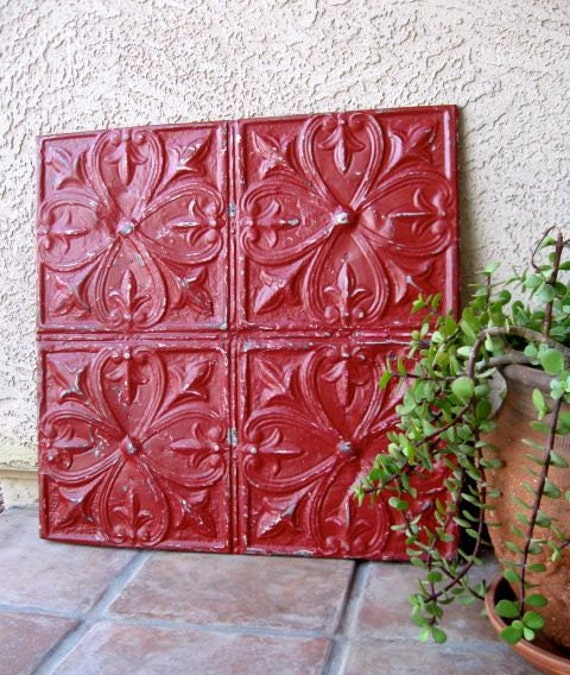 Huge Architectural Salvage Magnetic Memo Board from Antique Ceiling Tin 2ftx2ft