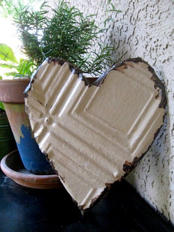 LOVE Cream Heart made with Antique Ceiling Tin Tile