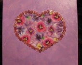 REDUCED   Mixed media collage painting on canvas - Pansy heart collage painting   REDUCED
