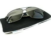 Men's Eye glass Case/Sunglass Holder - Organic Cotton, Eco Friendly, Fleece-Lined - Midnight Black - Free Gift Wrap