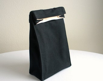 Insulated Lunch Bag - Eco Friendly, Organic Cotton - Black