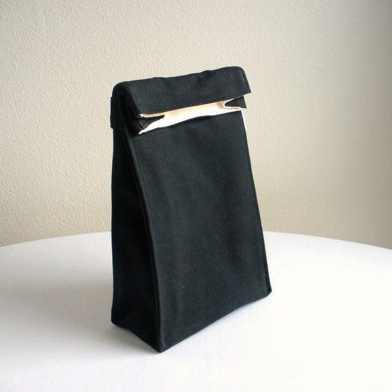 Insulated Lunch Bag Eco Friendly Organic Cotton Black