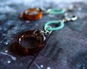 aqua and tortoise hoop silver earrings