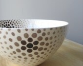 Handmade, Ceramic, Bowl, Luxury, Gift, Gold Edged, White, Circle, Speckle, Pattern