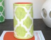 Handmade, Ceramic, Vase, Luxury, Gift, Gold Edged, Trellis, Light, Green
