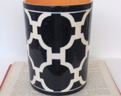 Handmade, Ceramic, Vase, Luxury, Gift, Gold Edged, Chevron, Utensil Holder, Trellis, Navy, Blue
