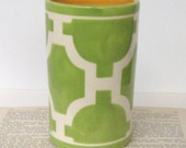 Number 5 Cylinder Vase in Hampton Links Chartreuse colorway
