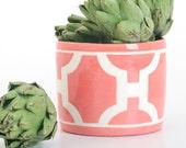 Handmade, Ceramic, Vase, Luxury, Gift, Gold Edged, Colorful Pottery, Trellis, Pink