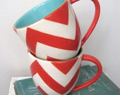 Handmade, Ceramic, Mug, Luxury, Gift, Gold Edged, Chevron, Red