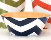 Handmade, Ceramic, Bowl, Luxury, Gift, Gold Edged, Chevron, Navy