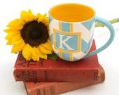 Handmade, Ceramic, Mug, Luxury, Gift, Gold Edged, Chevron, Turquoise, Yellow
