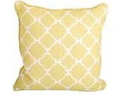 "20"" x 20"" Hampton Links Pillow in chartreuse hand blocked linen"