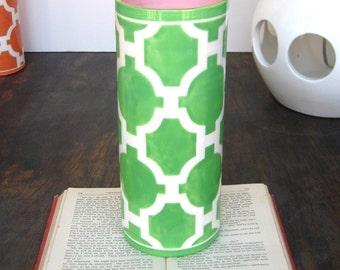 Handmade, Ceramic Vase, Luxury, Gift, Gold Edged, Trellis, Kelly, Green