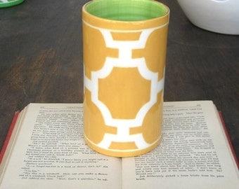 Handmade, Ceramic, Vase, Luxury, Gift, Gold Edged, Trellis, Yellow