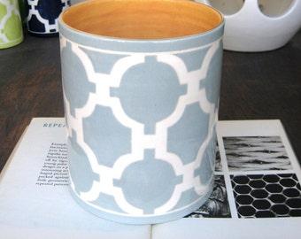 Handmade Ceramic Vase, Luxury, Wedding Gift,  Utensil Holder, Trellis Design, Light Blue