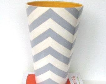 Handmade, Ceramic, Vase, Luxury, Gift, Gold Edged, Gray, Chevron,
