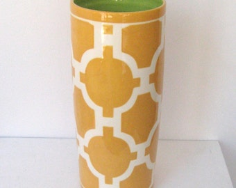 Handmade Pottery Vase, Luxury, Wedding Gift, Utensil Holder, Trellis Design, Yellow