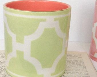 Handmade, Ceramic, Vase, Luxury, Gift, Gold Edged, Chevron, Light, Green, Orange, Yellow, Green, Light Blue
