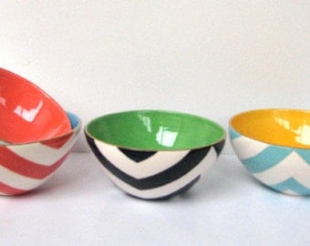 Handmade, Ceramic, Mini, Bowl, Luxury, Gift, Gold Edged, Chevron,