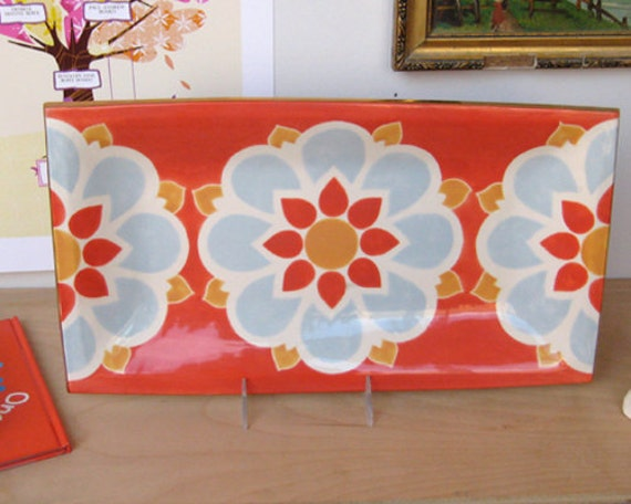 ON SALE Tapas Tray in coral floral half price