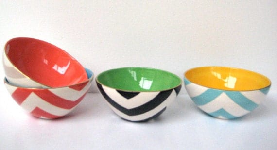 Handmade, Ceramic, Mini, Bowl, Luxury, Gift, Gold Edged, Chevron,