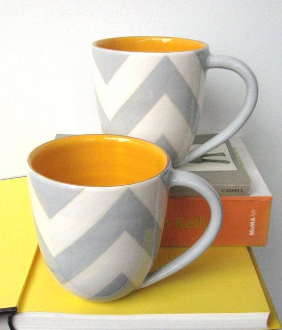 Handmade, Ceramic, Mug, Luxury, Gift, Gold Edged, Chevron, Grey, Yellow