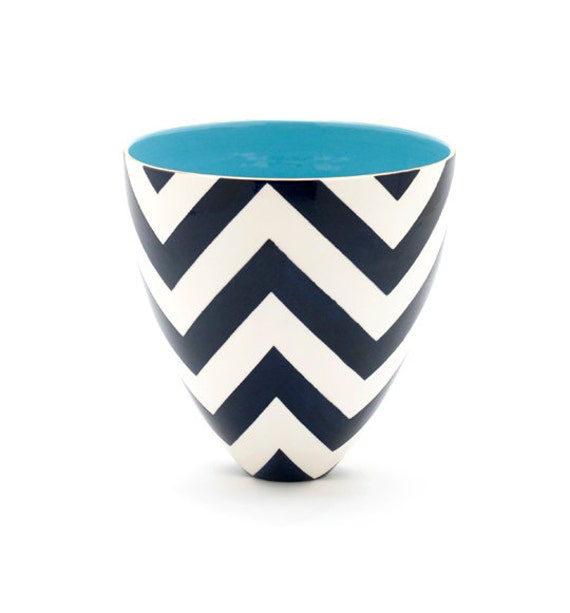 Bee Bowl in Buckley Chevron Navy with Papago Turquoise Interior