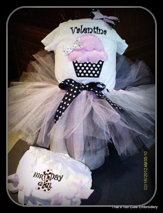 Embroidered Customized Birthday Outfit Top, Tutu, bloomers, and Bow