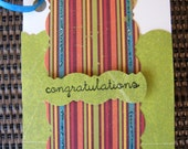 Congratulations gift enclosure, card for gifting wine, small congratulations card, handmade card, congratulations tag, bottle card, stamped
