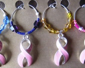 Breast Cancer Awareness Wine Charm Set (of 4), wine glass charms, drink charms, pink ribbon gift, pink ribbon charms, wine accessories