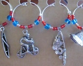 Outdoor Sports wine charm set, wine glass charms, gift for guy, wine gift, hostess gift, wine accessories, barware, sports charms, dad gift